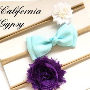 Boho floral bow nylon headband set